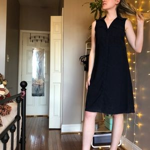 H&M Deep Navy V-Neck Midi Dress